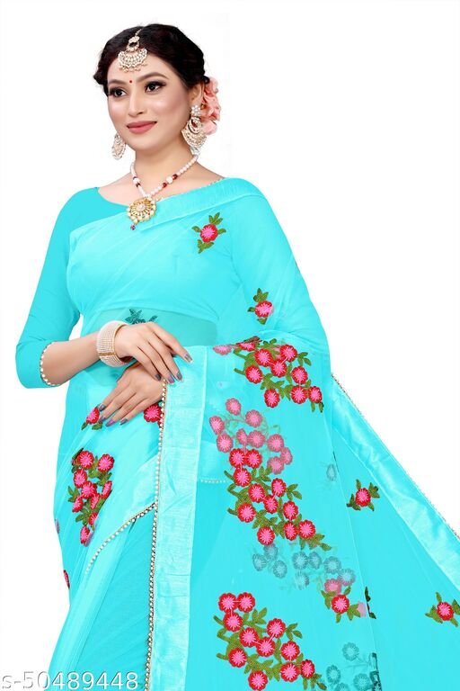 FANCY NET AND FLORAL DESIGN SAREE