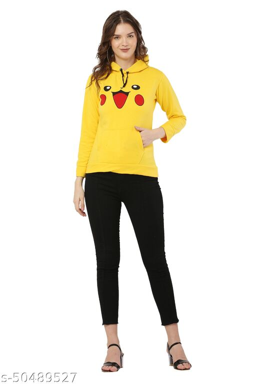 Yellow Color Casual Pullover Hoodie Jacket