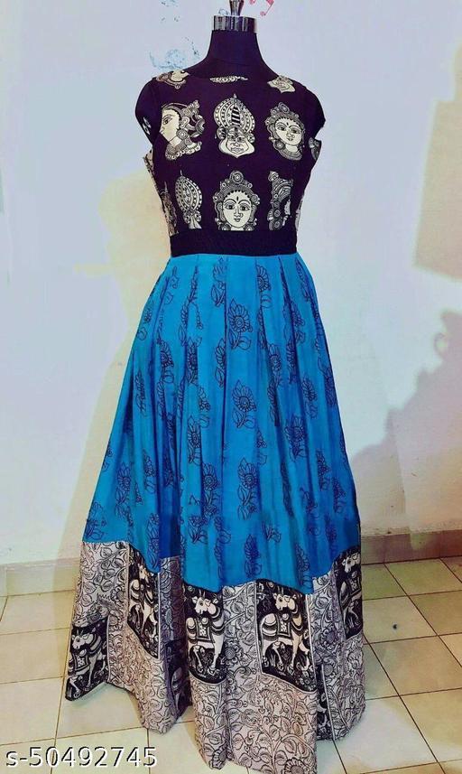Janvi Fashion Firozi Durga Puja Special Designer Printed Gown