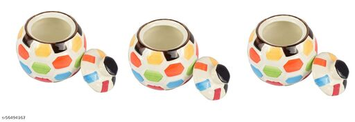 Exquisite Indian Ceramic Storage Tank Household Living Room DECOR Candy Sugar Pot, Kitchen Tableware, Hand Painted ,Multi Color ,set of 3