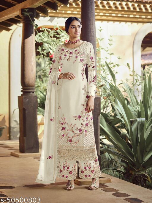 Storearc White faux georgette Embroidered Shtraight suit style plazzo suit