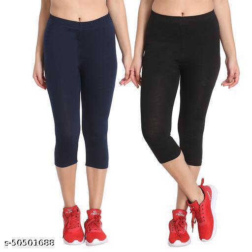 Zunaira Capris for womens/Girls 3/4 leggings for women capri of women combo of 2