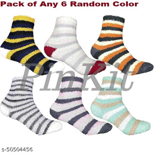 6 Pairs Soft & Cozy Ladies Women Girls Fuzzy Socks Winter Warm Feather Socks (Without Thumb Socks) (Pack of Three Pairs) - Any 6 Coloured Socks
