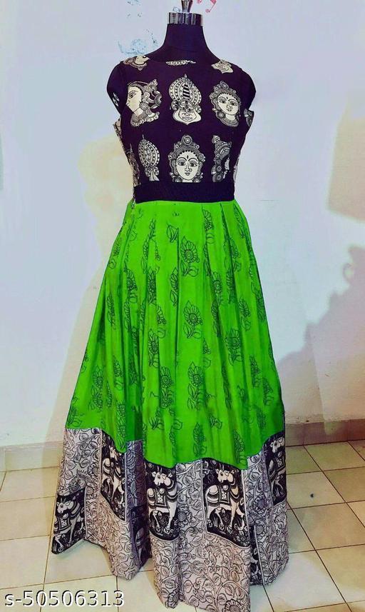 Janvi Fashion Green Durga Puja Special Designer Printed Gown