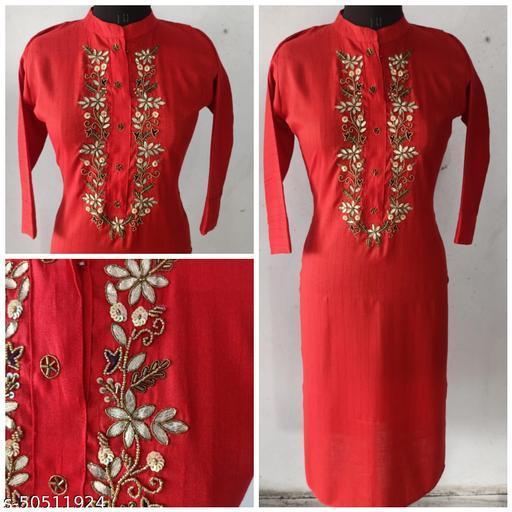 Red Self design cotton gotta patti handwork straight kurta