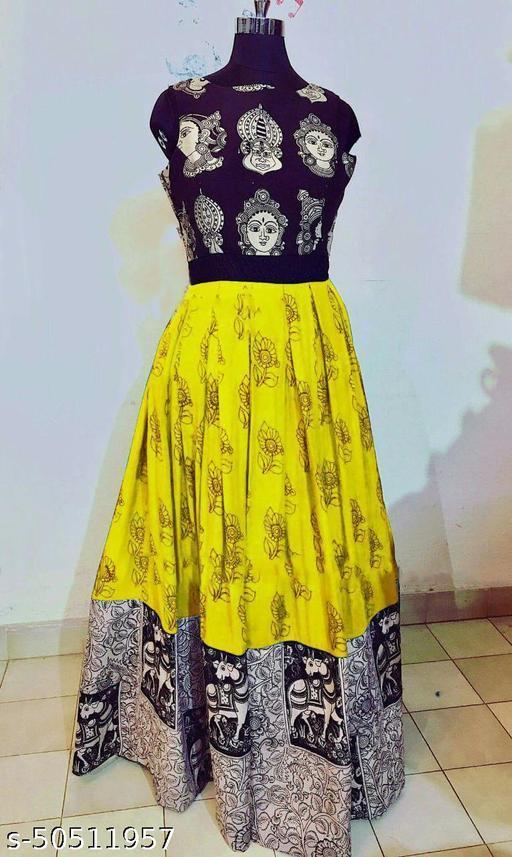 Janvi Fashion Yellow Durga Puja Special Designer Printed Gown