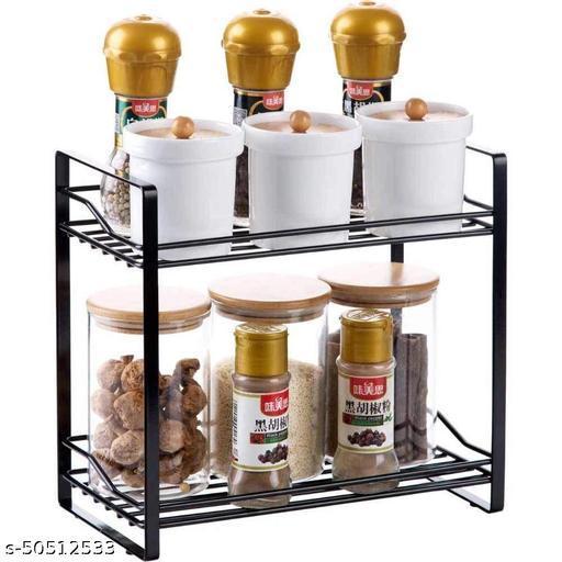 MAXTAN  2-Tier Shelf Rack Kitchen Bathroom Countertop, 2-Tier Standing Storage Organizer Spice Jars Bottle Shelf Holder Rack -Black (Black, Iron)