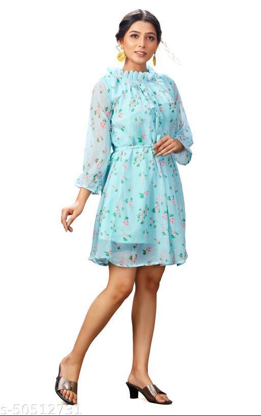 Party Wear Sky Blue Color Fancy Full Stitched Georgette Flower Design Printed Dresses