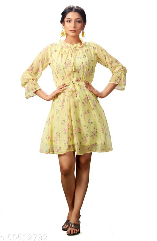 Party Wear Yellow Color Fancy Full Stitched Georgette Flower Design Printed Dresses