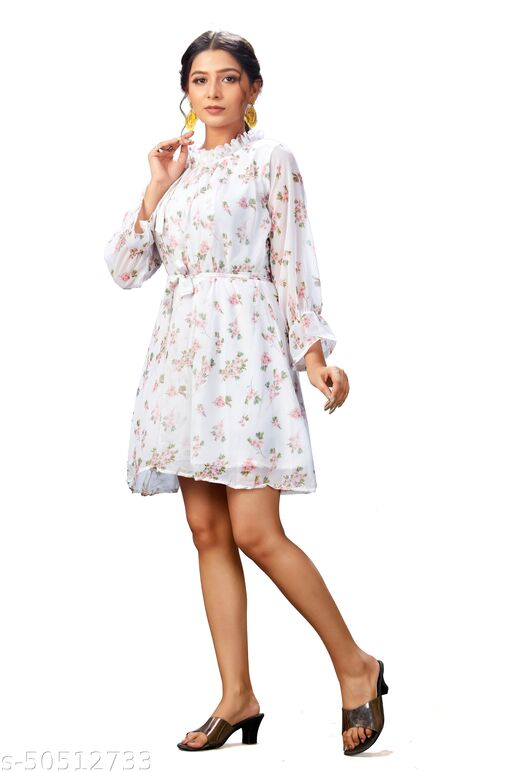 Party Wear White Color Fancy Full Stitched Georgette Flower Design Printed Dresses