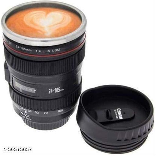 Misaki Camera Lens Plastic Coffee with Lid, 350ml, Black Plastic Coffee Mug  (350 ml)