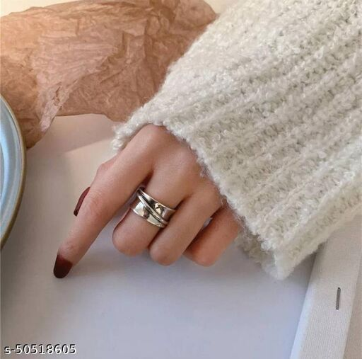 Arzonai Korean silver-plated arc ring female ins cold wind design sense index finger open ring
