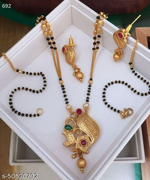 Stylish Brass Gold Mangalsutra with Earrings for Women