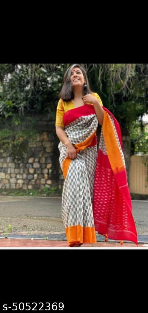 New Traditional Cotton Hand Block Printed Woman's Saree