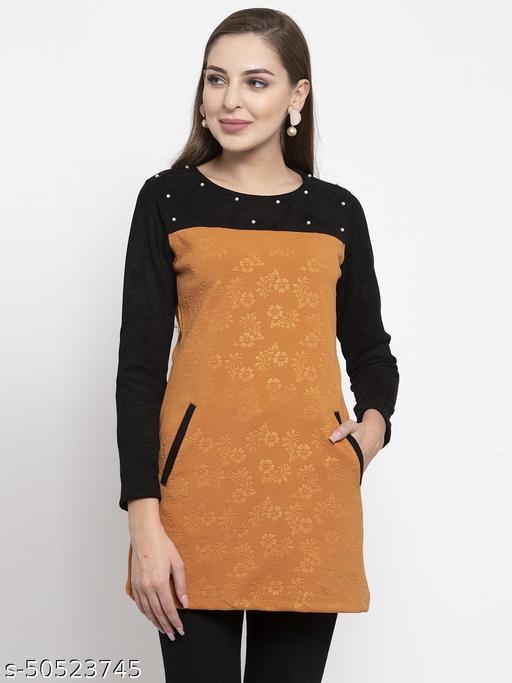 Armure Women's Brown & Black Self Design A-Line Dress