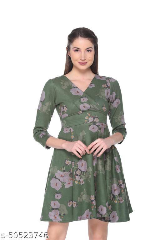 Armure Women's Green Printed A-Line Dress
