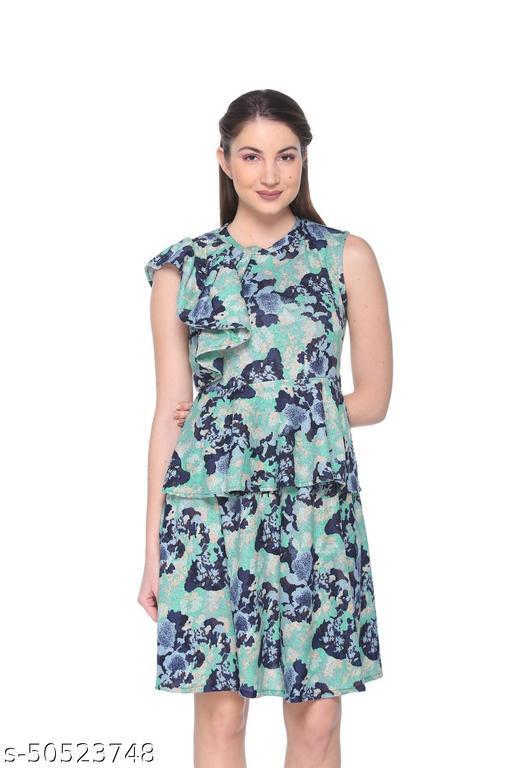 Armure Women's Green Printed Layered Dress