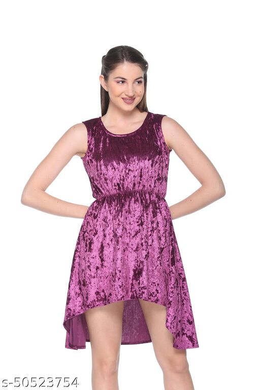 Armure Women's Purple Self-Design A-Line Dress