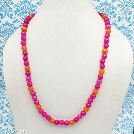 Satyam's Glass Pink Beads Necklace Mala for Women