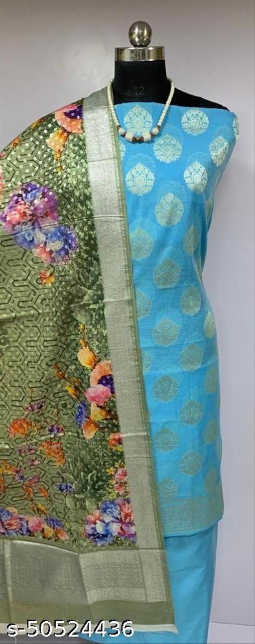 (19Aqua Blue) Fabulous Party Wear Banarsi Cotton Suit With Digital Printed Dupatta