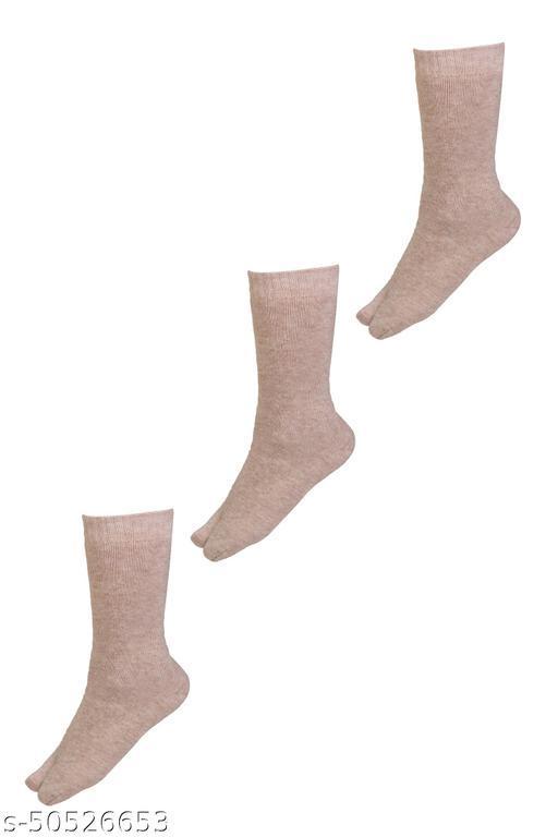 WAYVY Women Solid Thumb Mid-Calf/Crew Woollen Socks(Pack Of 3)