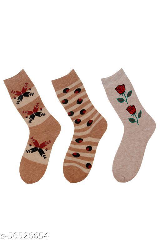 WAYVY Women Floral Print Thumb Mid-Calf/Crew Woollen Socks(Pack Of 3)