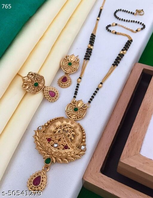 Iconic Designer Brass Gold Mangalsutra with Earrings for Women