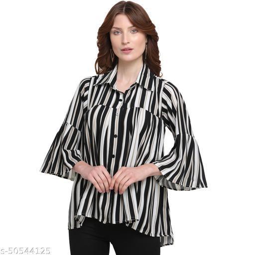Wedani Lifestyle Women Black & White Striped Casual Shirt