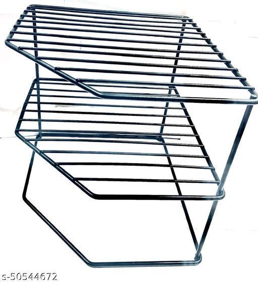 SHYAM IRON kitchen SHYAMte dish corner shelf rack stand shelves, storage cupboard, cabinet organizer, organiser for home bathroom living room, Size:25*25*30 CM, Chrome Finish