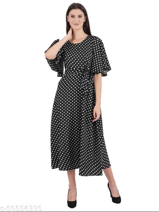 Ashnaina Polyester Fit and Flare Polka Dots Dresses