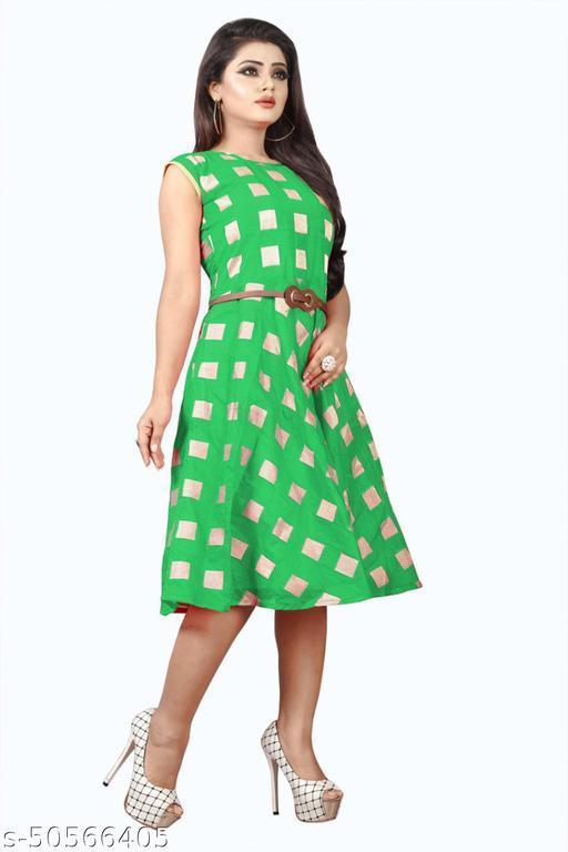 NIRU FASHION Women's Chanderi Print Stitched Western Dresses(Green & Gold)