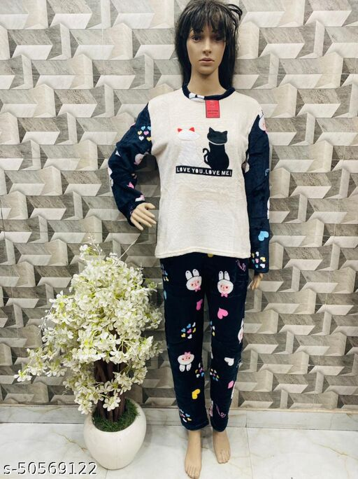 Women Fashion Night Suit for Winters Woolen Thermal and Warm