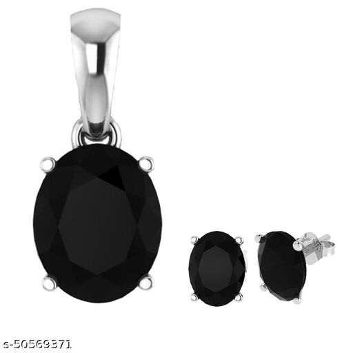 Natural Black Onyx Gemstone Handmade 925 sterling silver Combo Stud Earring & Pendent  Women & Girls