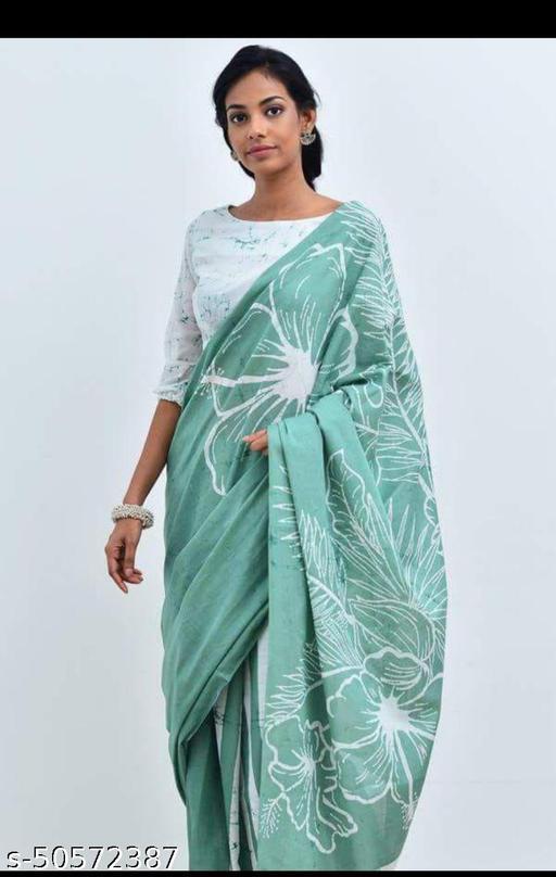 Soft Mulmul Cotton saree with seprate cotton blouse piece