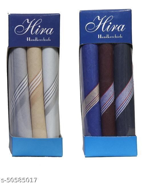 HIRA Cotton 3 Piece Men's Handkerchief Set - Dark Grey,Light Brown,Light Grey   (51CMX51CM) & Cotton 3 Piece Men's Handkerchief Set - Royal Blue,Maroon,Grey (51CMX51CM)