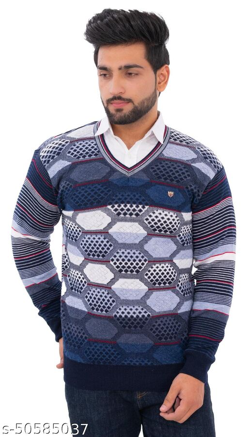 Loglo Winter Wear Casual Polyster V-Neck Sweater For Men's