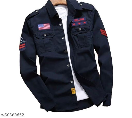 Navy Double Pocket Patch Shirt