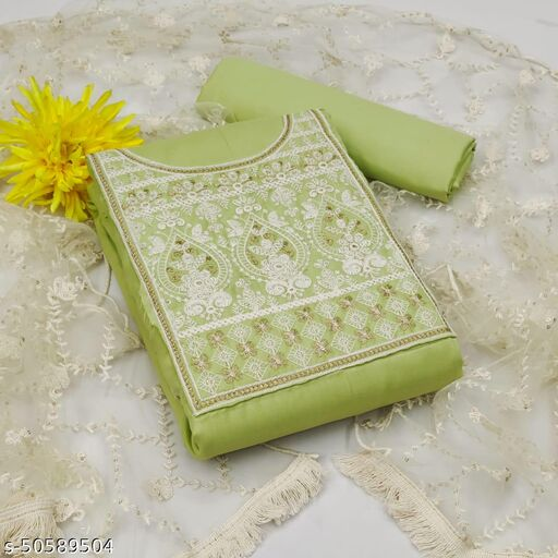 Super Cute Cotton Embroidery Work Suit With Net Dupatta