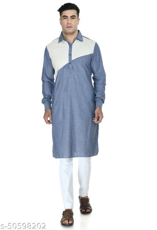 Design Trend Men's Premium Designer Cotton Chambray Ethnic Kurta