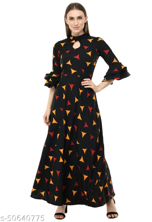 Jollie Femme Black Abstract Print Poly Crepe Frill Sleeves Maxi Gowns