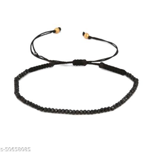 Ratnavali Arts Natural Black Spinal Gemstone Thread Bracelet For Woman