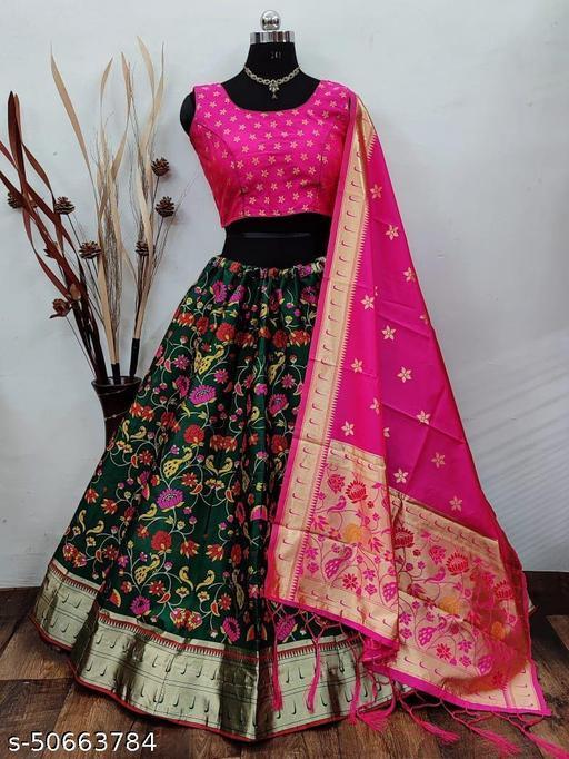FITCASK® Banarasi Silk Semi Stitched Lehenga Choli :- Black