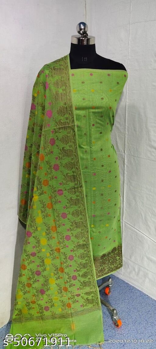 (S7Mint Green) Weddings Special Banarsi Handloom Cotton Suit And Dress Material