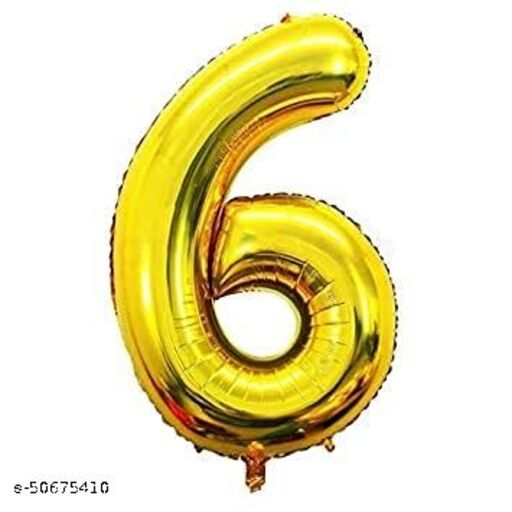"Neevaza 6 Number Foil Golden colour Balloon for Birthday/ Anniversary - 32"""