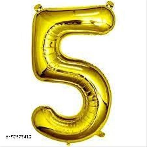 "Neevaza 5 Number Foil Golden colour Balloon for Birthday/ Anniversary - 32"""