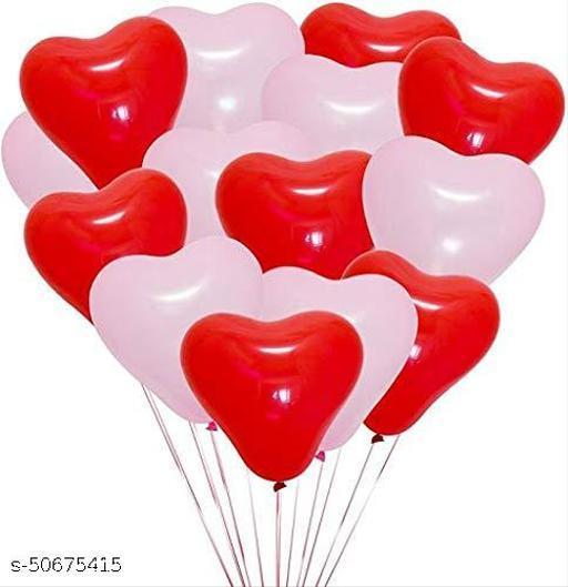 Neevaza HeartShape Balloon - Red/White - Pack of 50 Pcs
