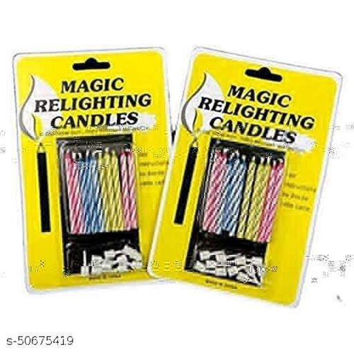 Neevaza Magic Candle for Birthday/Anniversay Cakes - 5 Packet (10 candles each)Party Decor