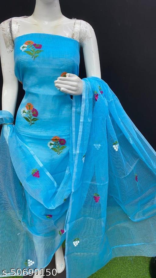 Kota Doria Beautiful Flower Hand Kasida Cotton Suite With Dupatta And Bottom