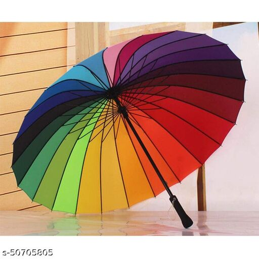 Rainbow Umbrella Windproof Upside Down Reverse Double Layer Inside Out Folding Multicolor Polyester Umbrella for Men and Women - (Big size)