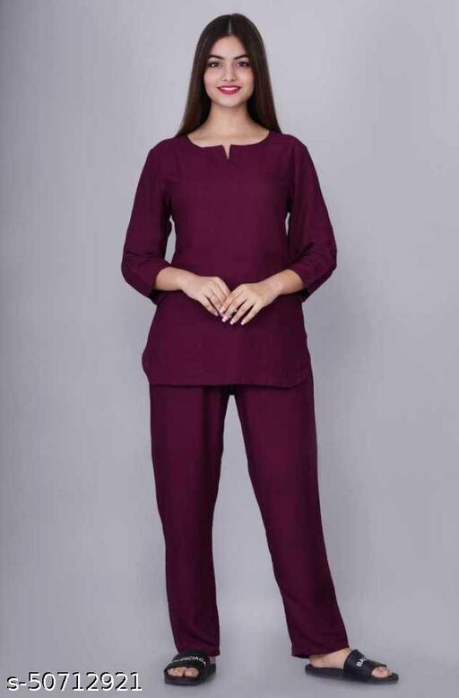 Trendy Night Suit For Womens In Wine Color